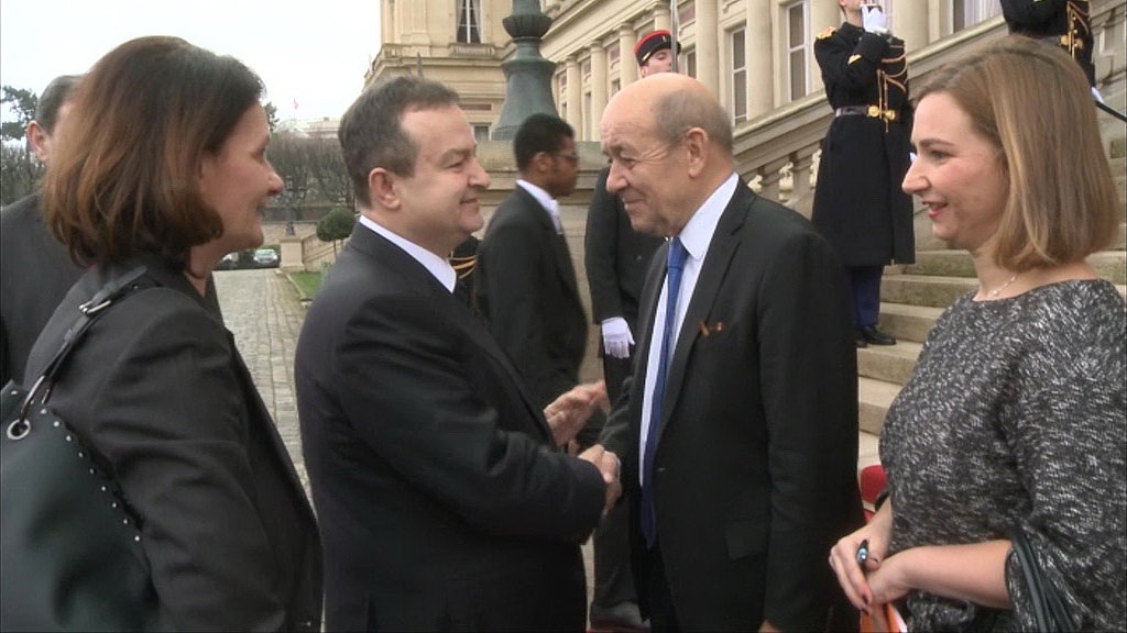 Ivica Dacic and Jean-Yves Le Drian